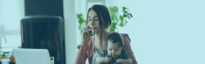 Mother and Child on phone call