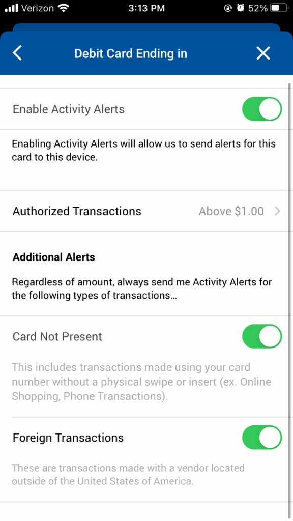 Activity Alerts Card Controls
