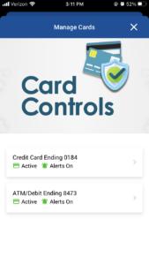 Card Controls Menu Mobile App