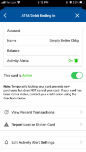 Debit Card Page - Card Controls