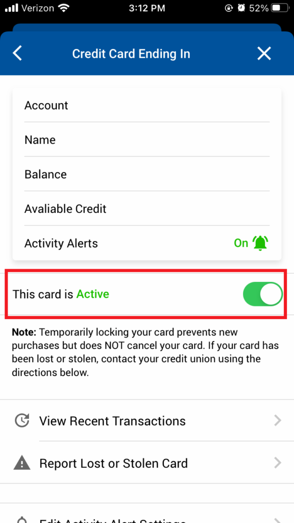 Credit Card Page Locking- Card Controls