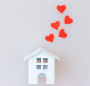 Hearts coming from house