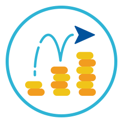 Arrow Bouncing Up Coins
