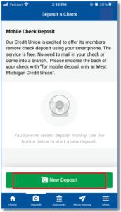 New Deposit Screen