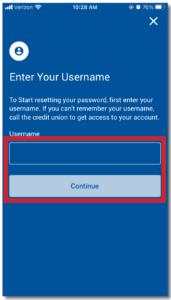 Mobile App Enter Username