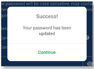 Password Reset Mobile App Success